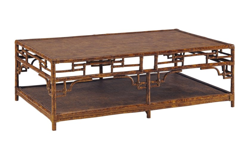 Pagoda Coffee Table, LargeWoven Upper and Lower shelfColor - Tortoise