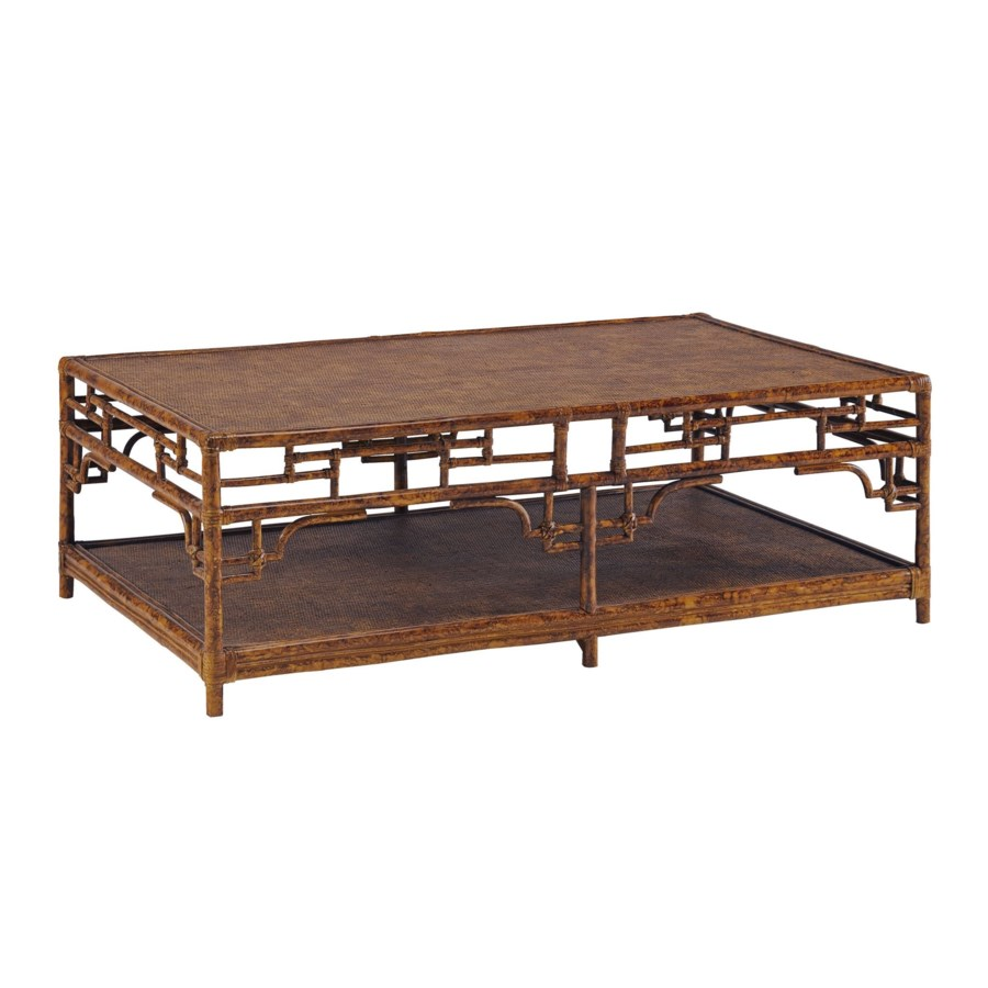 Pagoda Coffee Table, Large Woven Upper and Lower shelf Color - Tortoise