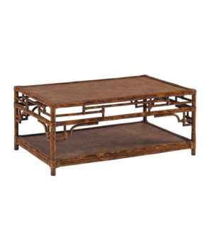 Pagoda Coffee Table, Small Woven Upper and Lower shelf Color - Tortoise