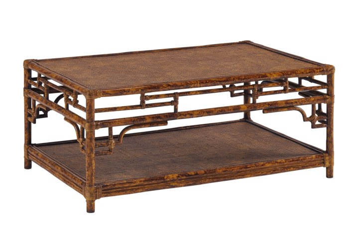 Pagoda Coffee Table, SmallWoven Upper and Lower shelfColor - Tortoise