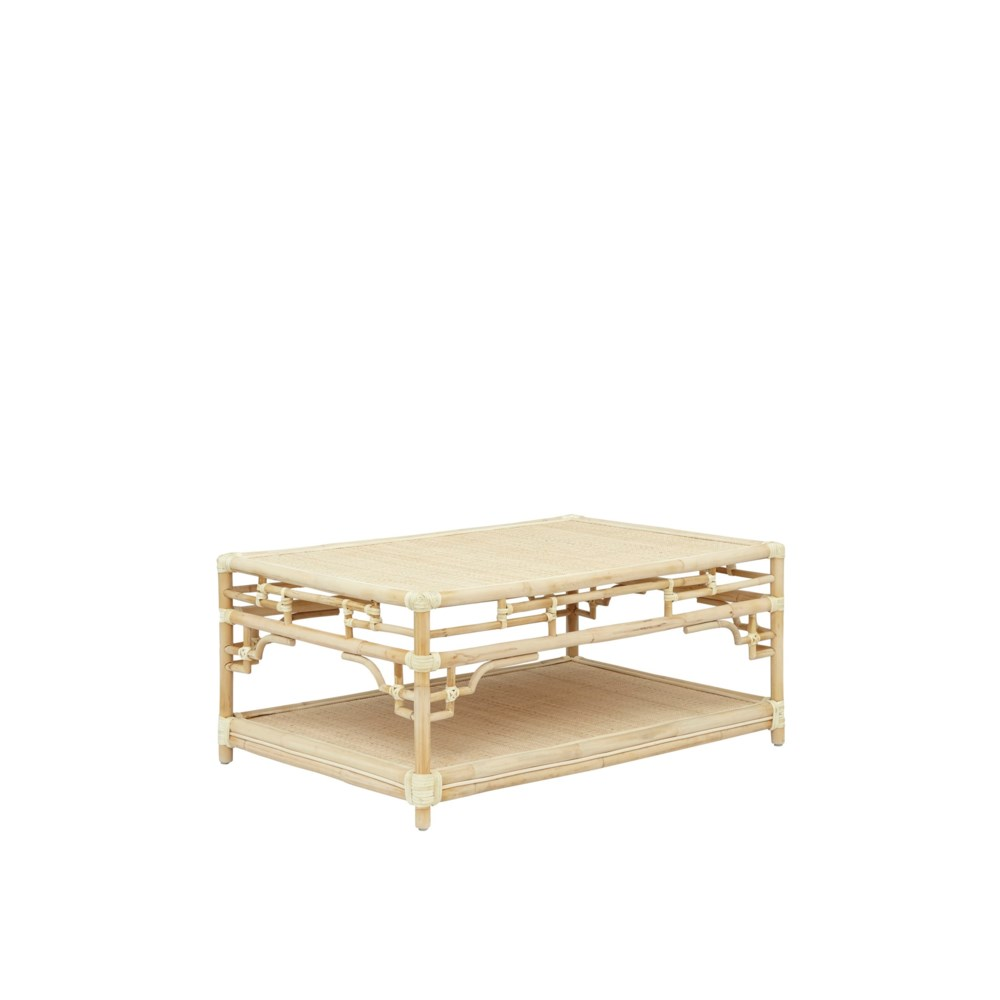 """Pagoda Coffee Table, Small Unpainted - """"Select Your Color"""" Rattan Frame with Leather Wraps"""