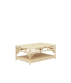 "Pagoda Coffee Table, Small Unpainted - ""Select Your Color"" Rattan Frame with Leather Wraps"