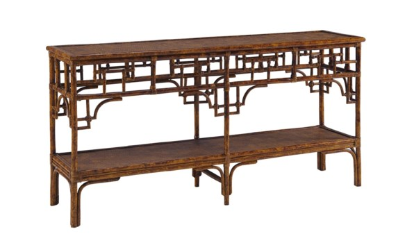 Pagoda Console, Large Woven Upper and Lower shelfColor - Tortoise