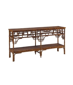 Pagoda Console, Large Woven Upper and Lower shelf Color - Tortoise