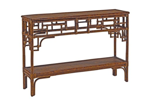 Pagoda Console, Small Woven Upper and Lower shelfColor - Tortoise