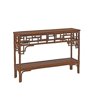 Pagoda Console, Small Woven Upper and Lower Shelf Color - Tortoise