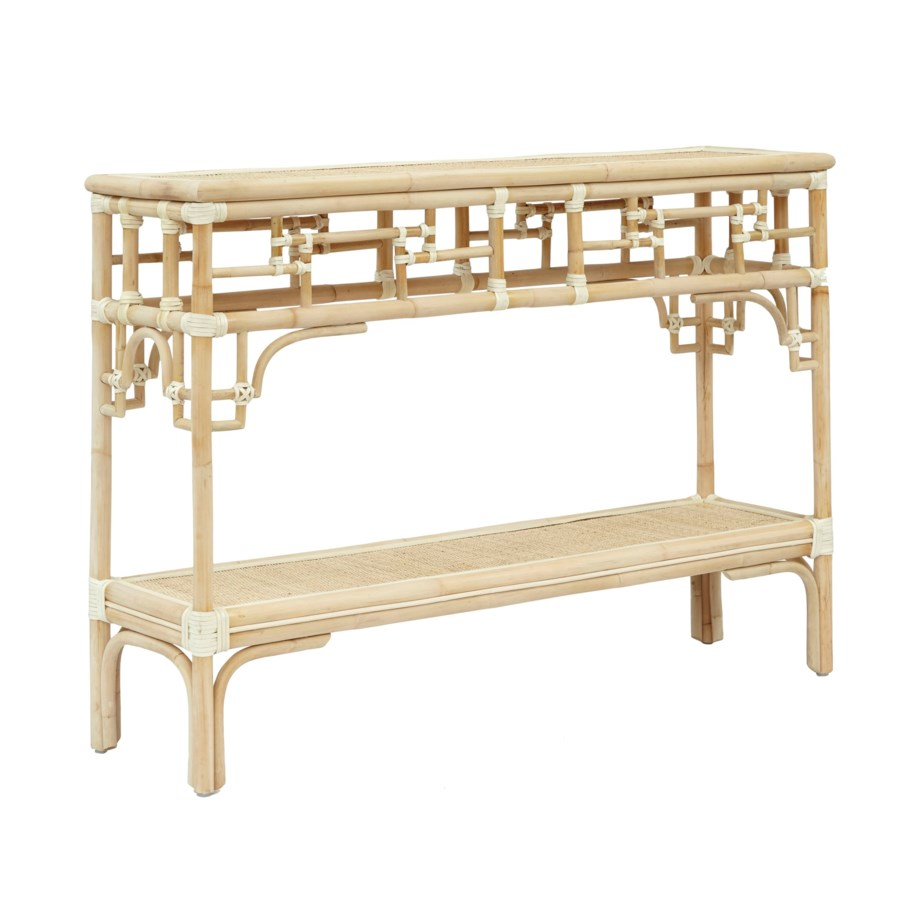 "Pagoda Console, Small Unpainted - ""Select Your Color"" Rattan Frame with Leather Wraps"