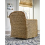 Logan Swivel Chair Woven Frame Color - Buff Cushion Color - Holly White
