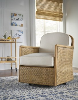 Logan Swivel ChairFrame WovenColor - NaturalCushion Color - Holly White