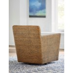 Hudson Swivel Chair Woven Frame Color - Ginger Cushion Color - Holly White