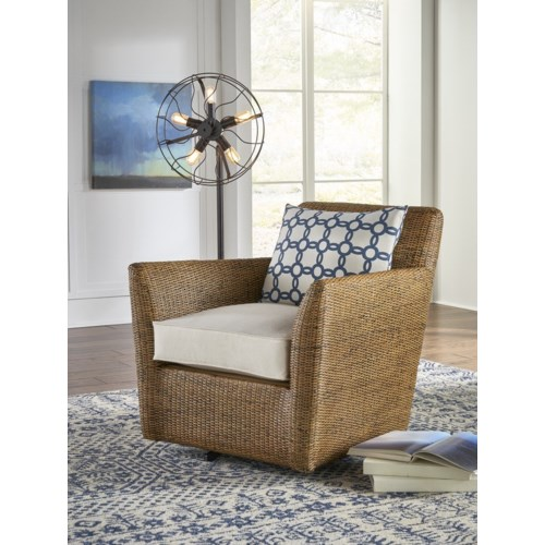 Hudson Swivel ChairFrame WovenColor - NaturalCushion Color - Holly White
