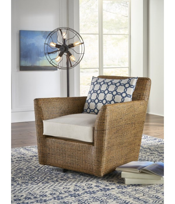 Hudson Swivel Chair INCLUDES SWIVEL  PART# 1824640200Woven Frame Color - Ginger Cushion Color - H