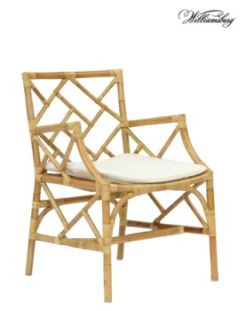 25% OFF -Bassett Hall Arm ChairFrame Color -NaturalCushion Color - Holly WhiteItem to be Discon