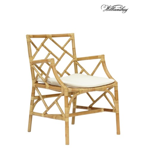 Bassett Hall Arm Chair Frame Color -Natural Cushion Color - Holly White CLOSE-OUT  -   50% OFF
