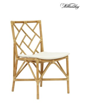 15% OFF -Bassett Hall Side ChairFrame Color - NaturalCushion Color -  Holly WhiteSold ONLY in pa