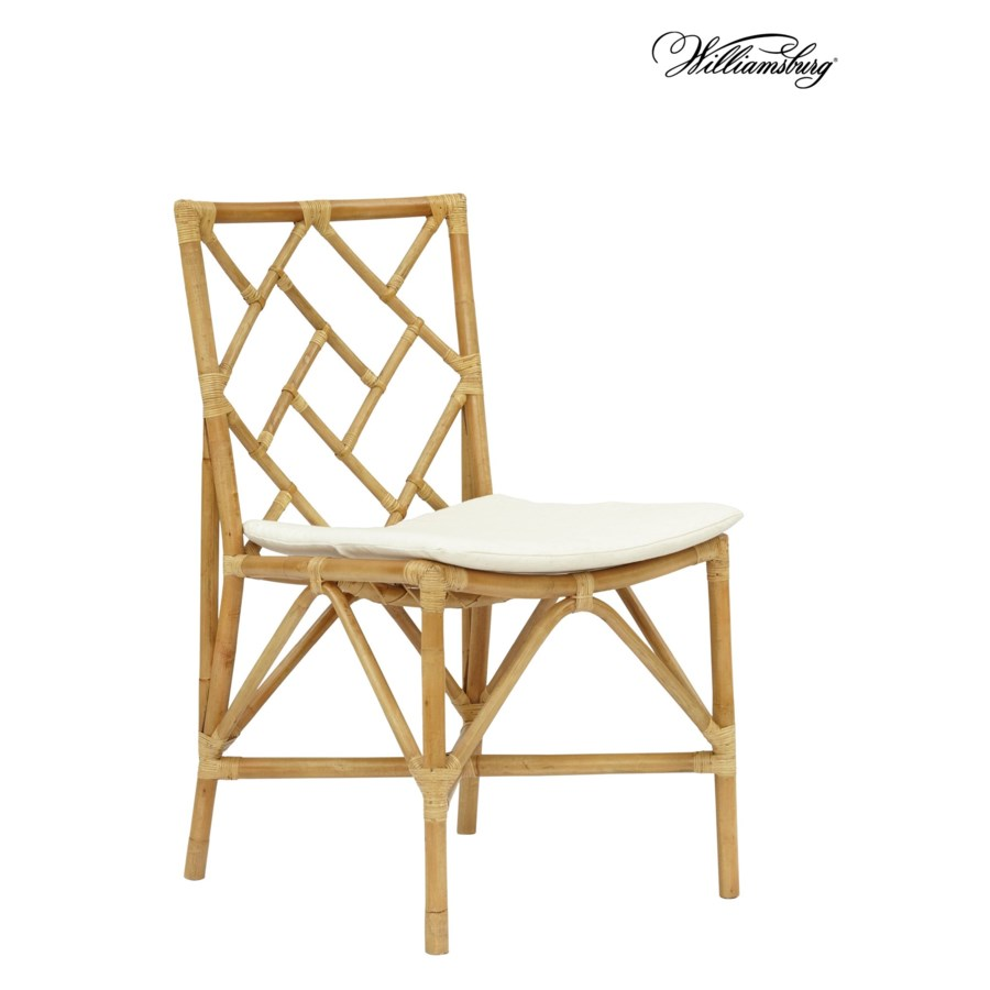 SOLD-OUT - 15% Off!Bassett Hall Side ChairFrame Color - NaturalCushion Color -  Holly WhiteSold
