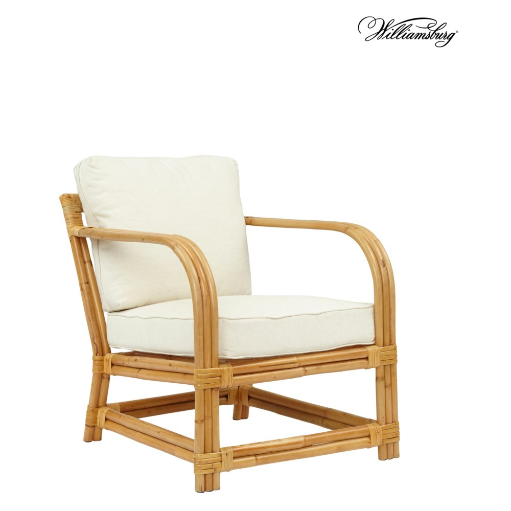 Bassett Hall Club Chair Frame Color - Natural Cushion Color -  Holly White