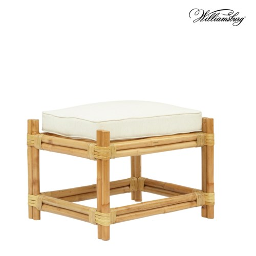 CLOSE-OUT - 25% Off! Bassett Hall Ottoman Frame Color - Natural Cushion Color -  Holly White T