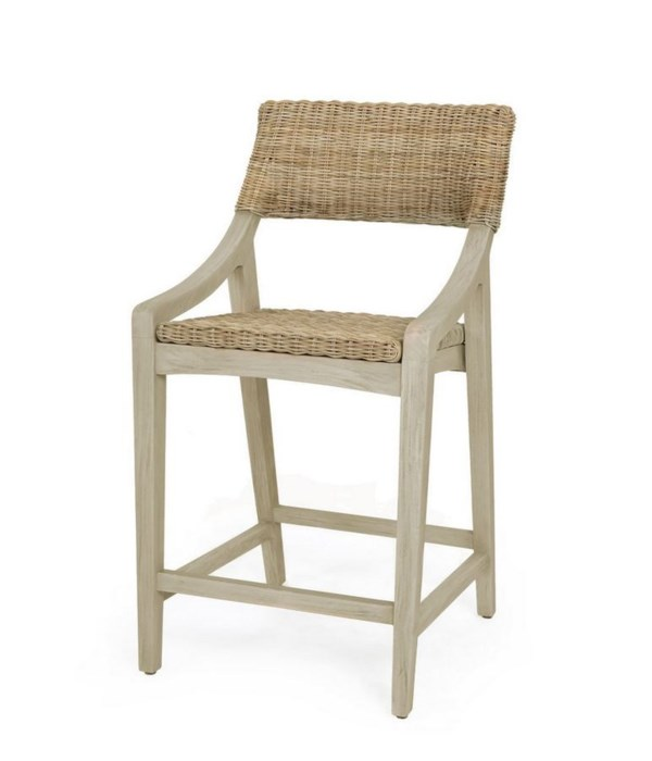 Urbane Counter Chair  Frame Color - Old Gray Woven Seat and Back Color - Stone