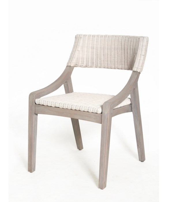 Urbane Dining Side Chair Frame Color - Old Gray White Woven Seat and Back