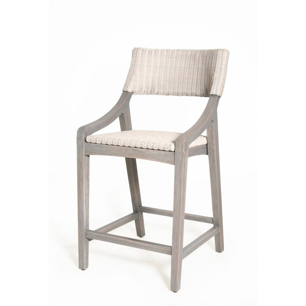 Urbane Counter Chair Frame Color - Old Gray Woven Seat and Back Color - White