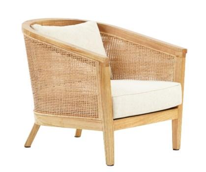 Valencia Club Chair Wood FrameWoven Rattan Color - Natural Cushion Color -  Cream