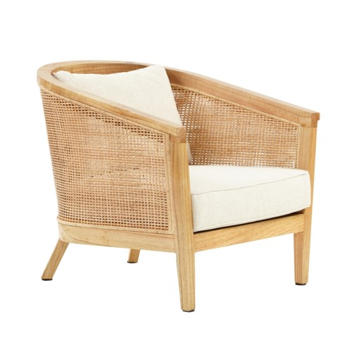 Valencia Club Chair Woven Rattan Color - Natural Cushion Color -  Cream