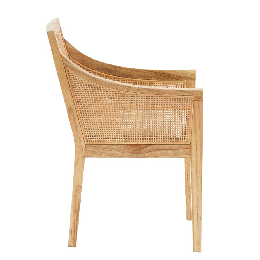 Valencia Arm Chair Frame - Mindi WoodWoven Rattan Color - Natural  Cushion Color - Cream