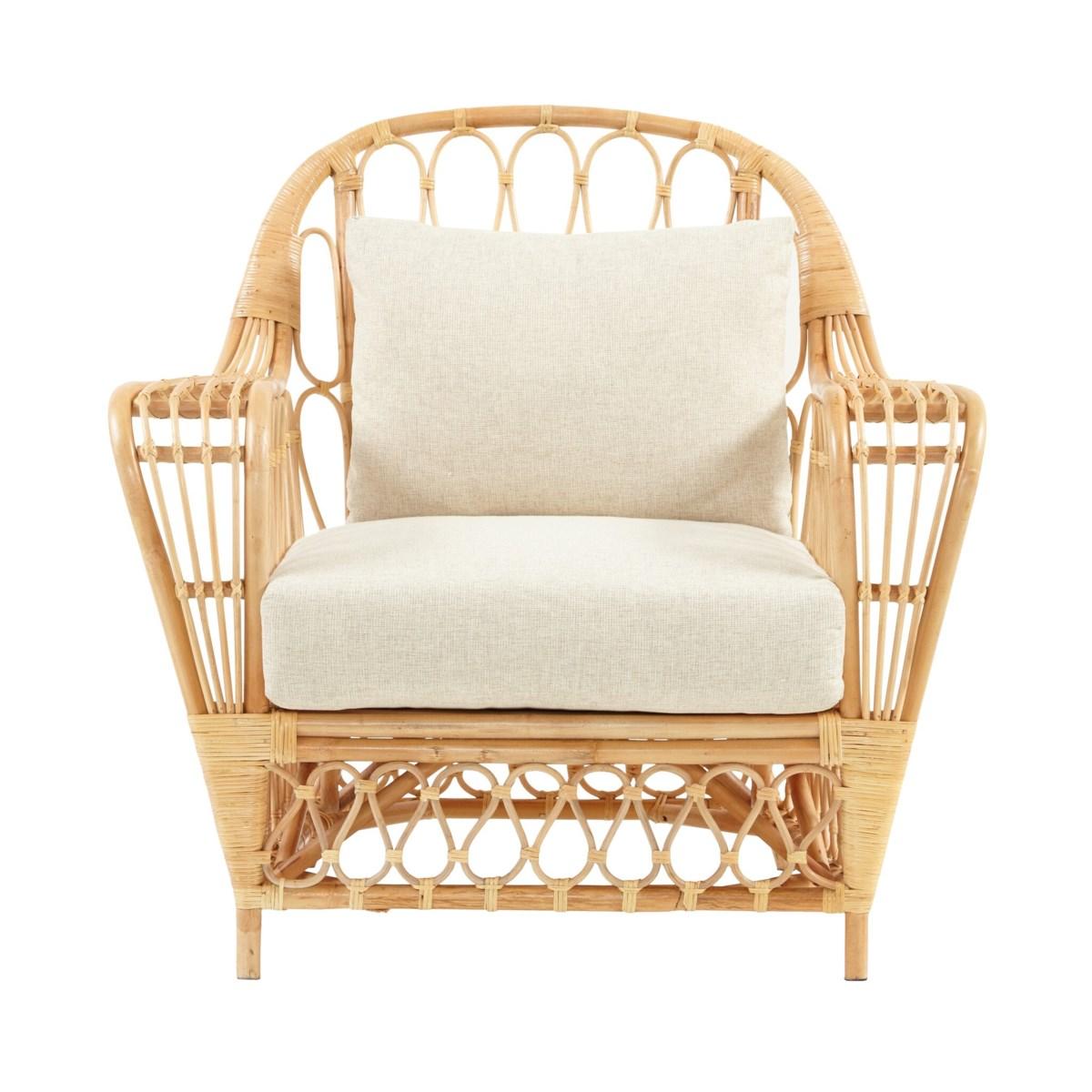Bar Harbor Club Chair Color - Natural Cushion Color - Cream