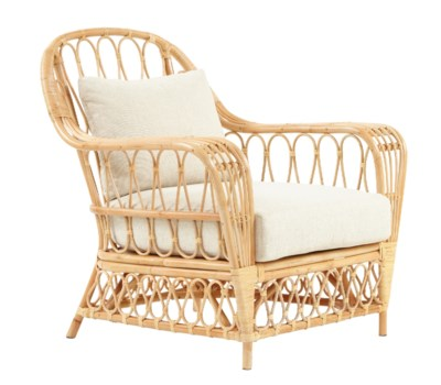 Bar Harbor ChairRattan Frame – Natural Cushion Color: Cream