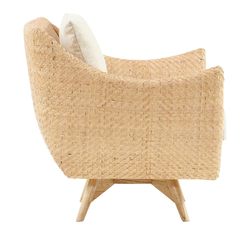 Grayson Swivel Chair Mahogany Wood Frame Woven Rattan Diamond Weave - Natural Cushion Color - Cre