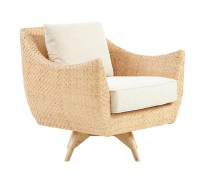 Grayson Swivel ChairSwivel# 18000040Mahogany Wood FrameWoven Rattan - Natural Cushion Color - Cr
