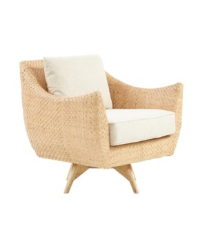 Grayson Swivel Chair Mahogany Wood Frame Woven Rattan Diamond Weave - Natural Cushion Color - Cre