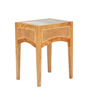 Valencia Side Table W/ Glass InsertWood FrameWoven Rattan Color - Natural