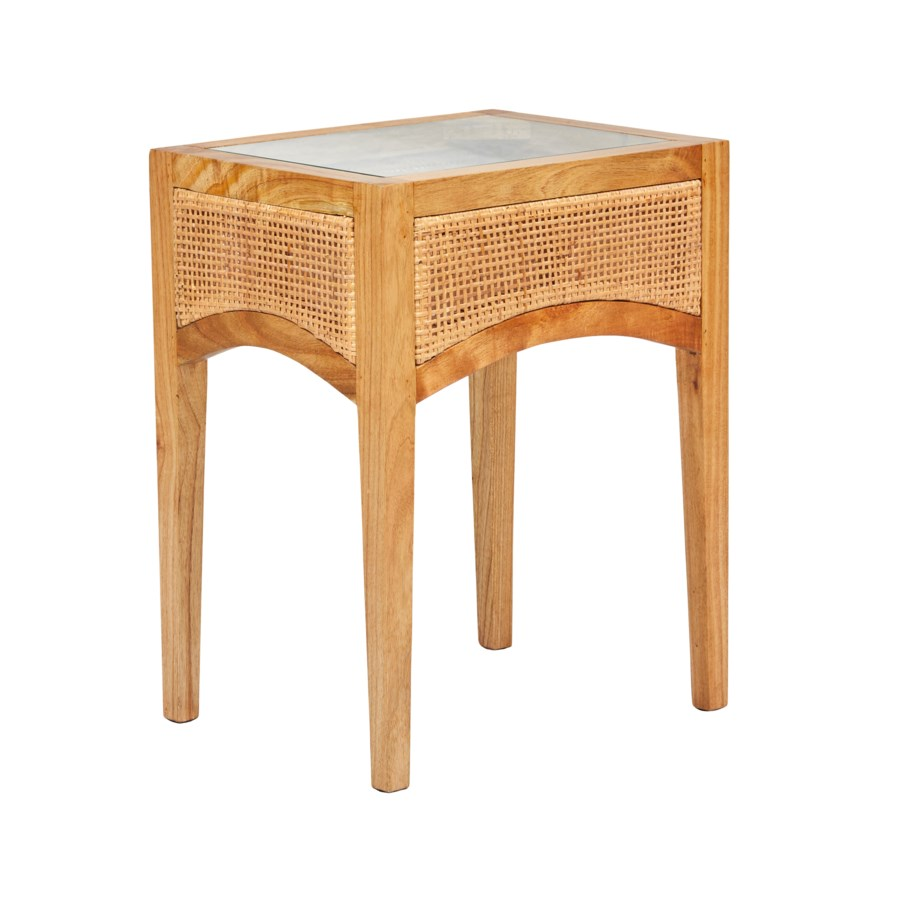 Valencia Side Table W/ Glass Insert Mindi Wood Frame Woven Rattan Color - Natural
