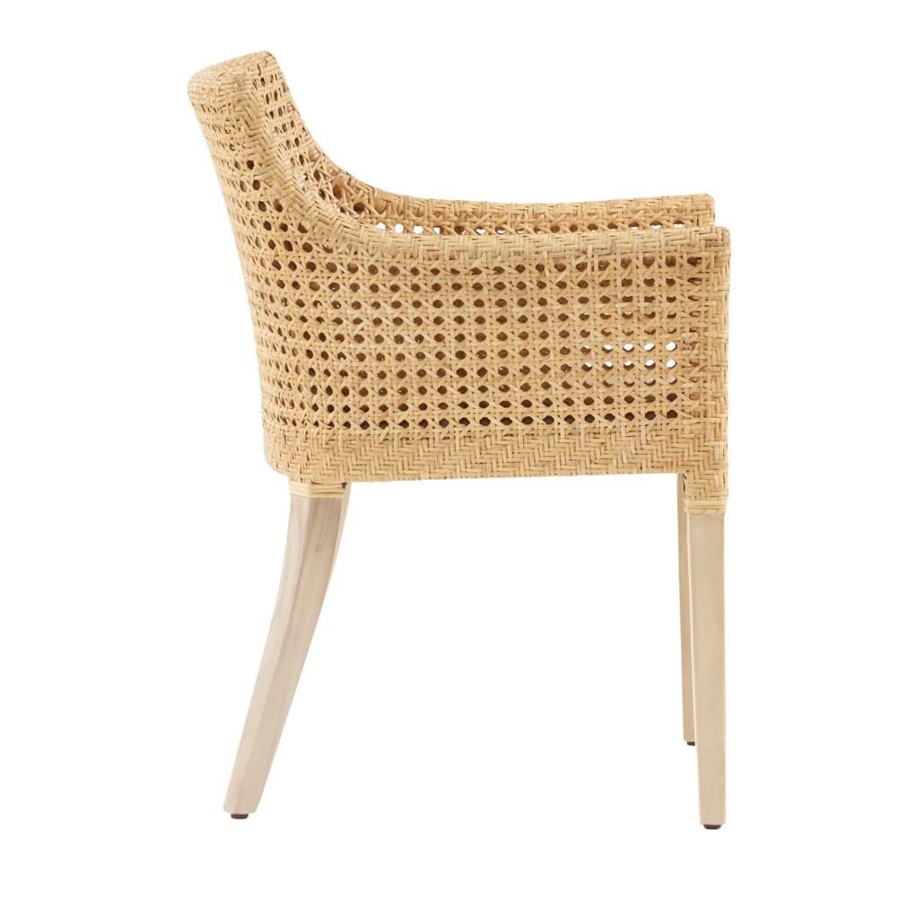 Blora Arm Chair Mahogany Wood Frame - Natural Woven Rattan Color - Natural   Cushion Color - Crea