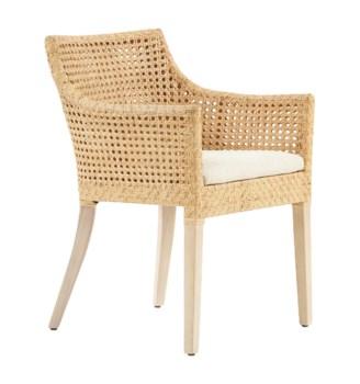Blora ChairWoven Rattan Arm Chair Color - Natural Cushion Color - Cream