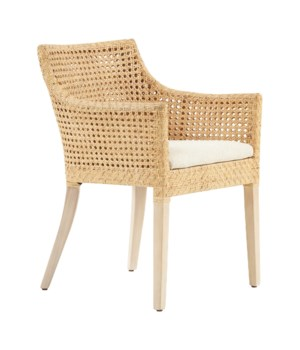 Blora Arm Chair Mahogany Wood Frame - Natural Woven Rattan Color - Natural   Cushion Color - Crea