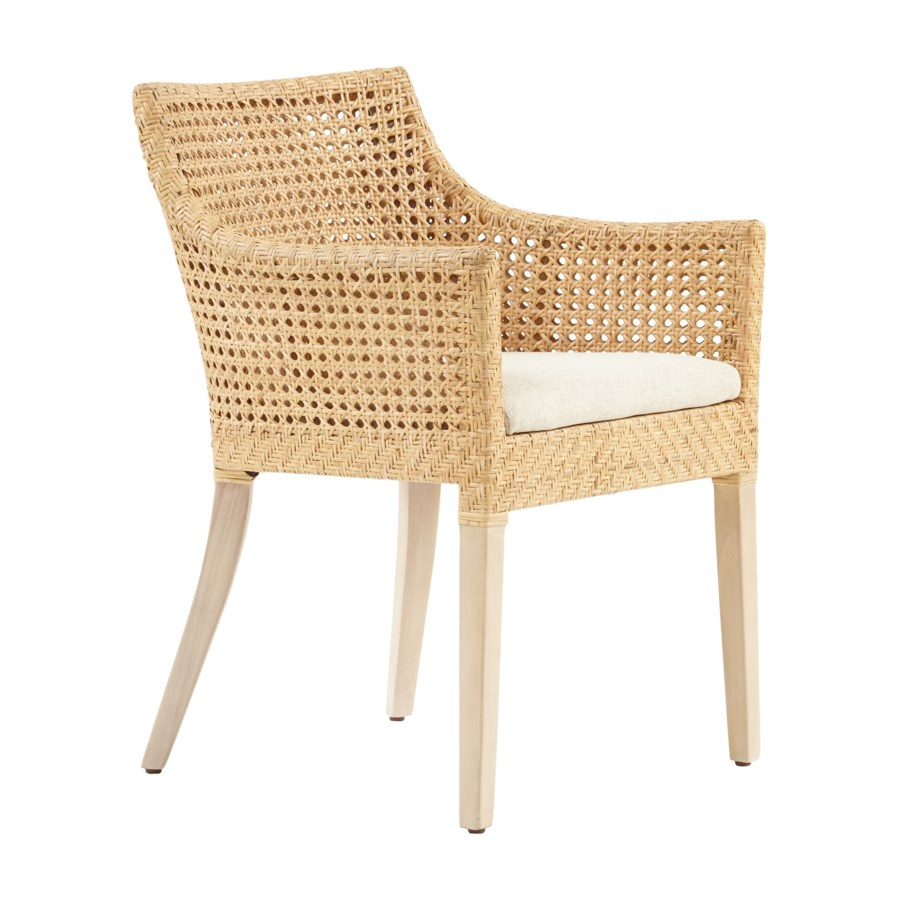 Blora Arm ChairMahogany Wood Frame - NaturalWoven Rattan Color - Natural Cushion Color - Cream