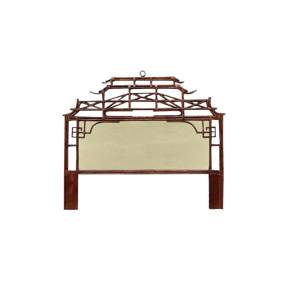 Pagoda King Headboard w/ Fabric Insert Frame Material - Rattan Frame Color - Tortoise Fabric Inse
