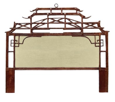 Pagoda King Headboard w/ Fabric InsertFrame Material - RattanFrame Color - TortoiseFabric Insert