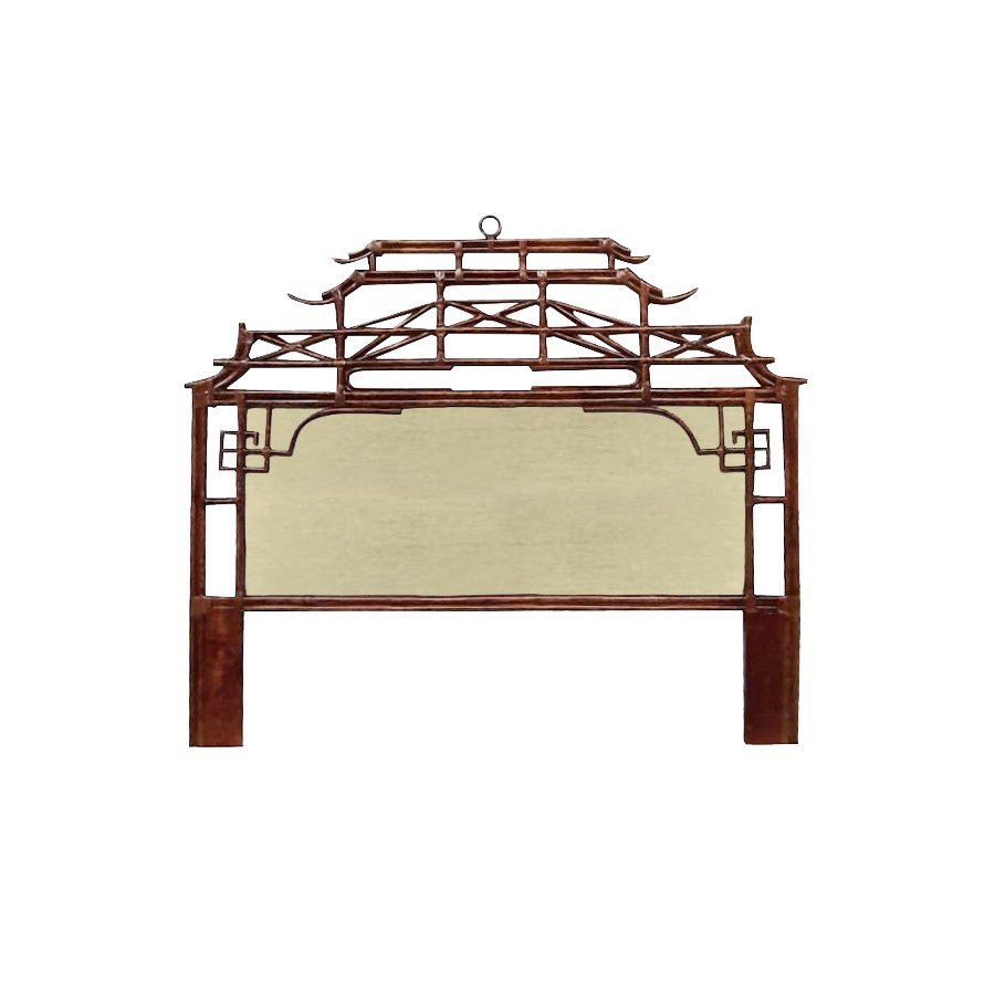 Pagoda King Headboard w/ Fabric Insert Frame Material - Rattan Frame Color - Tortoise Fabric Inse