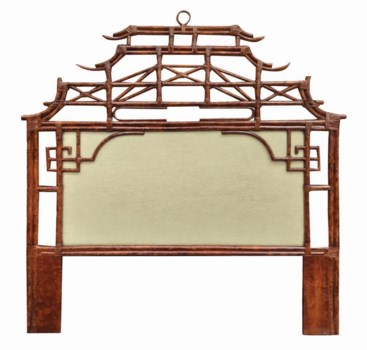 Pagoda Queen Headboard w/ Fabric InsertFrame Material - RattanFrame Color - TortoiseFabric Insert