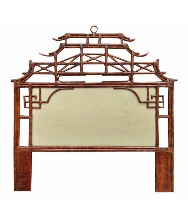 Pagoda Queen Headboard w/ Fabric Insert Frame Material - Rattan Frame Color - Tortoise Fabric Ins