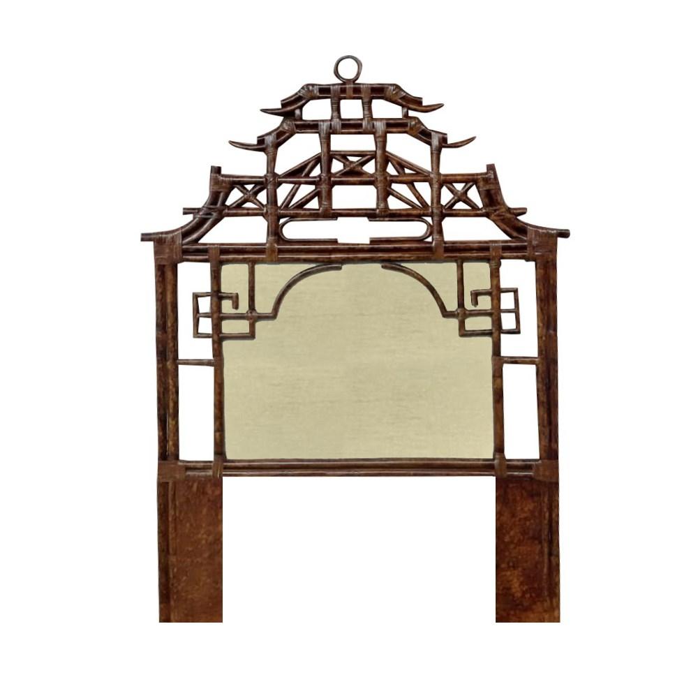 Pagoda Twin Headboard w/ Fabric Insert Frame Material - Rattan Frame Color - Tortoise Fabric Inse