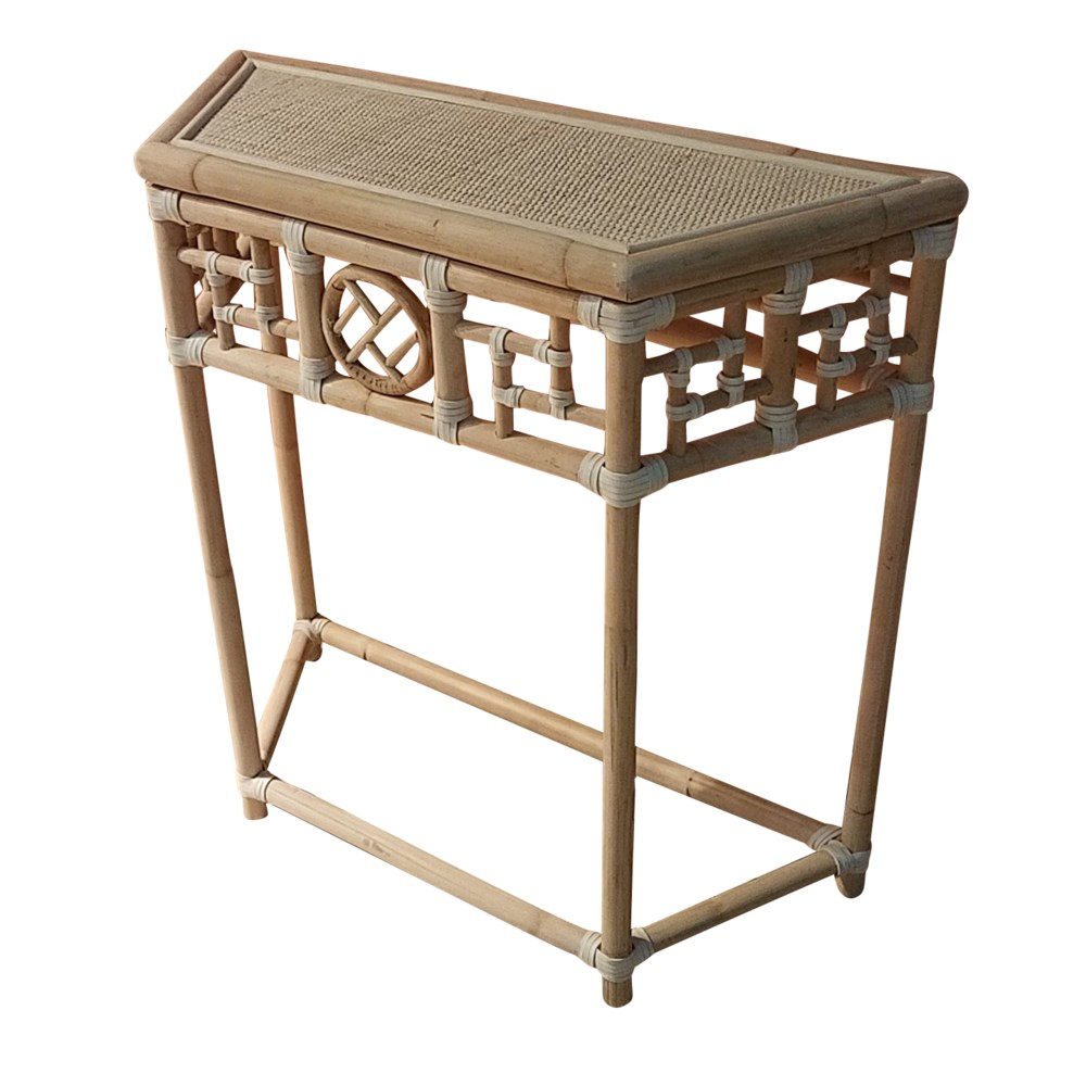 """Demilune Table, Small Unpainted - """"Select Your Color"""" Rattan Frame with Leather Wraps Woven Top"""