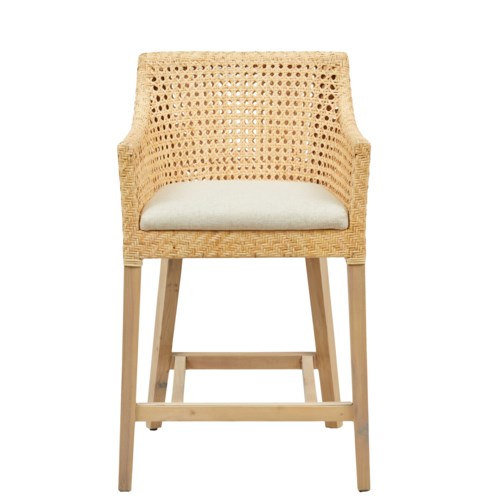 Blora Counter Chair Mahogany Frame Color - Natural Woven Rattan Color - Natural  Cushion Color -