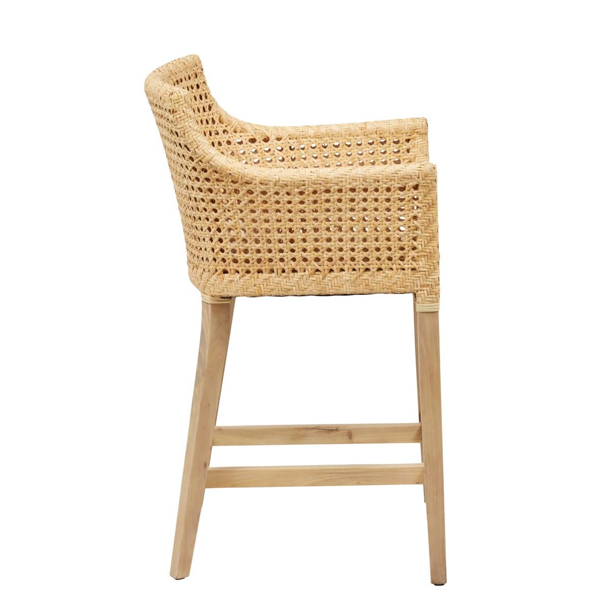Blora Counter Chair Mahogany Frame Color - Natural Woven Rattan Color - Natural  Cushion Color -