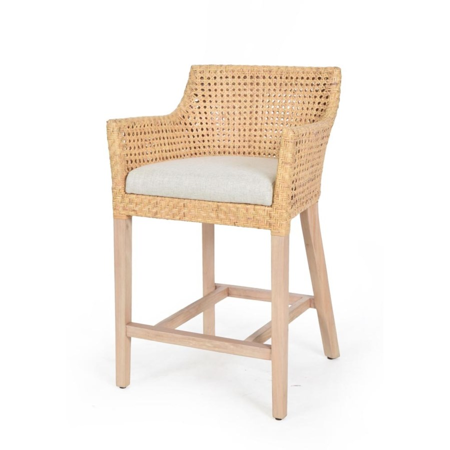 Blora Counter ChairWoven Rattan Arm Chair Color - Natural Cushion Color - Cream