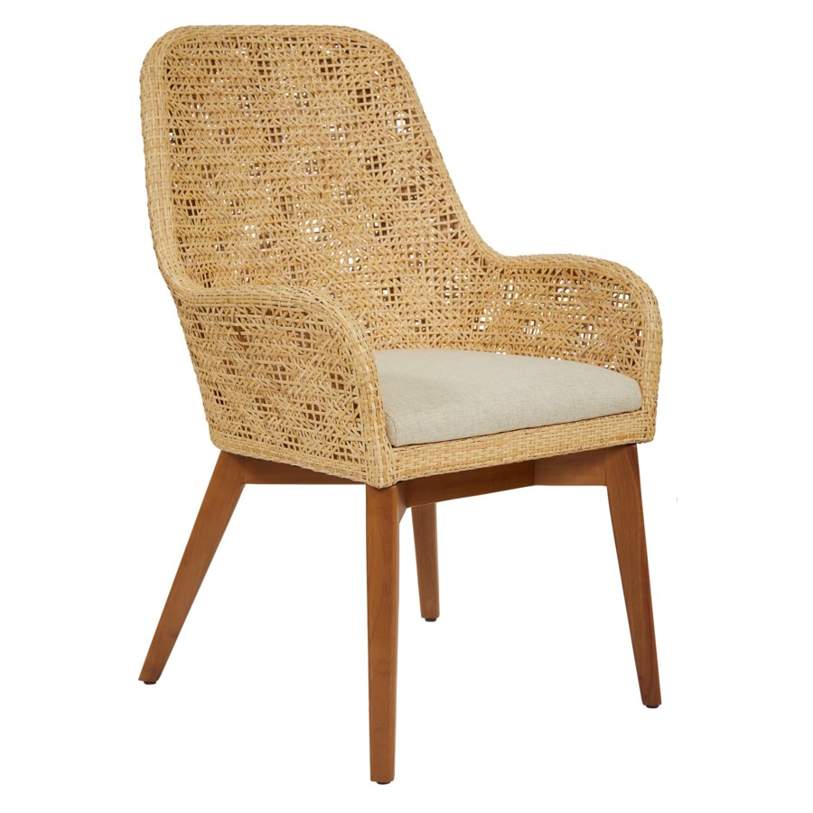 Ava Arm Chair Color - Natural Cushion Color - Cream